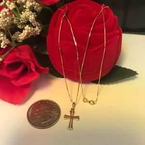 Jewelry - 18K Real Solid Gold Cross Necklace